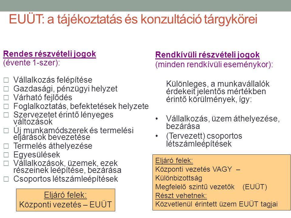 EUÜT: a tájékoztatás és konzultáció tárgykörei