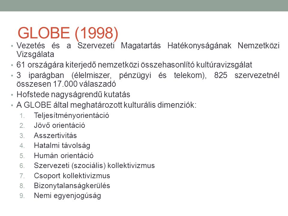GLOBE (1998) Vezetés és a Szervezeti Magatartás Hatékonyságának Nemzetközi Vizsgálata.