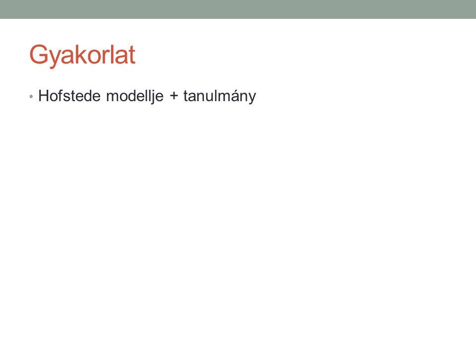 Gyakorlat Hofstede modellje + tanulmány
