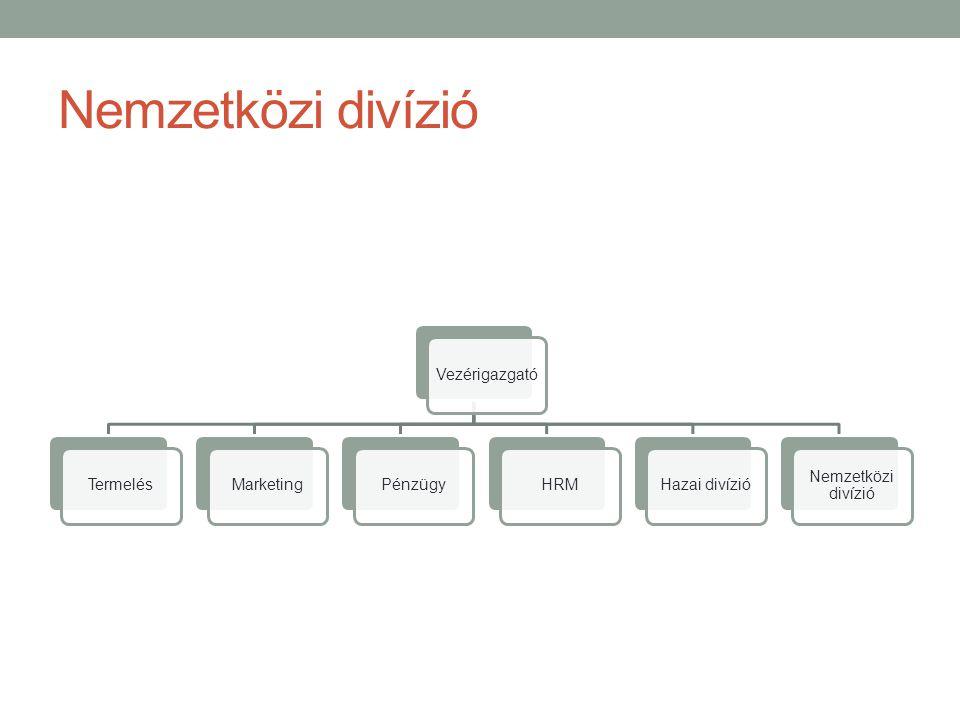 Nemzetközi divízió Vezérigazgató Termelés Marketing Pénzügy HRM