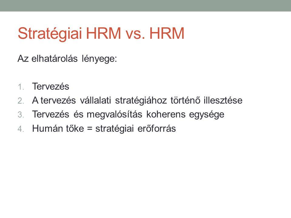 Stratégiai HRM vs. HRM Az elhatárolás lényege: Tervezés
