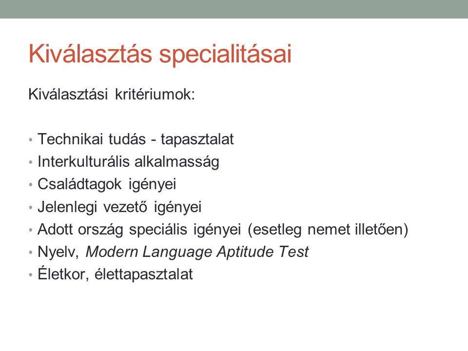 Kiválasztás specialitásai