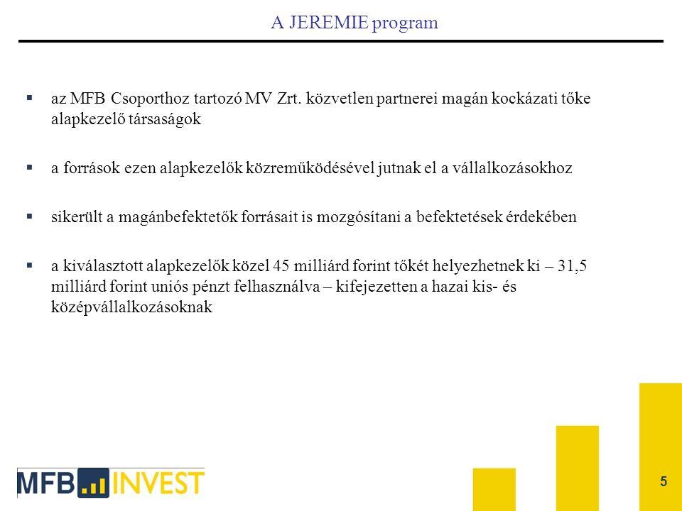 A JEREMIE program az MFB Csoporthoz tartozó MV Zrt. közvetlen partnerei magán kockázati tőke alapkezelő társaságok.