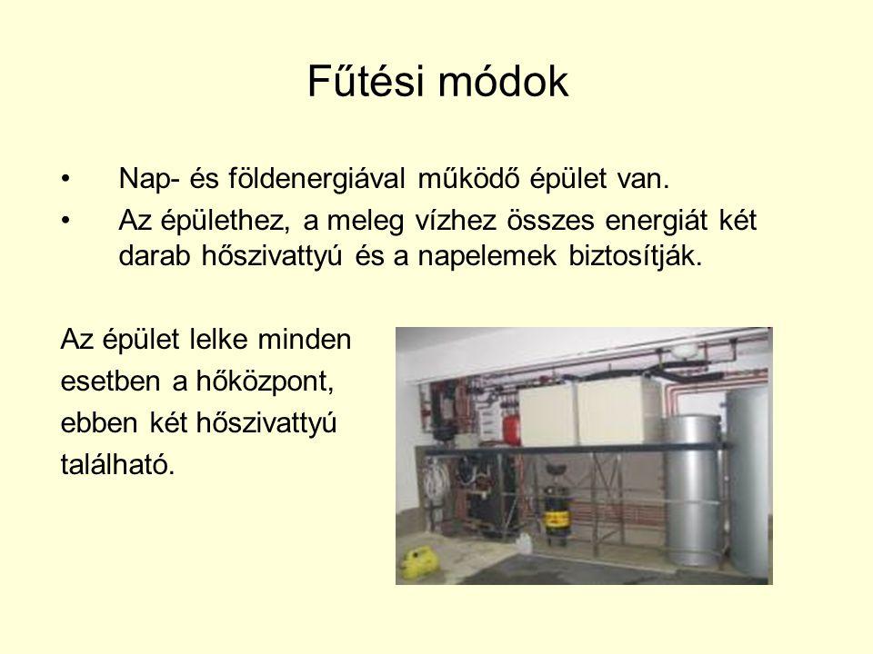 Fűtési módok Nap- és földenergiával működő épület van.