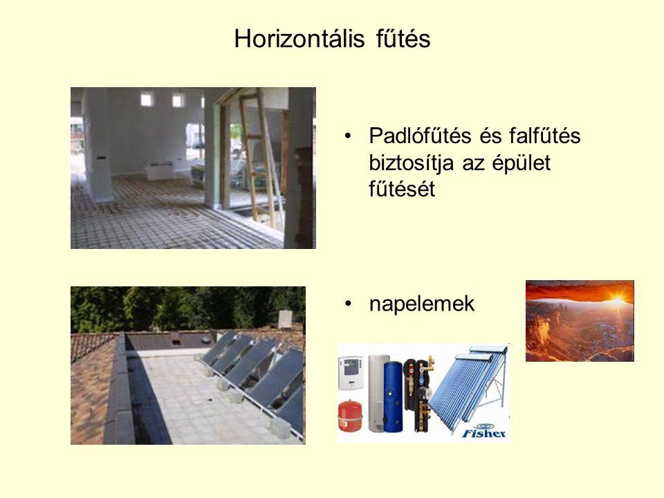 Horizontális fűtés Padlófűtés és falfűtés biztosítja az épület fűtését