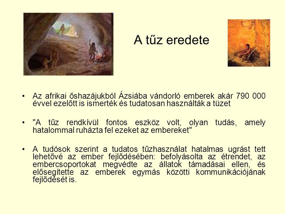 A tűz eredete Az afrikai őshazájukból Ázsiába vándorló emberek akár 790 000 évvel ezelőtt is ismerték és tudatosan használták a tüzet.