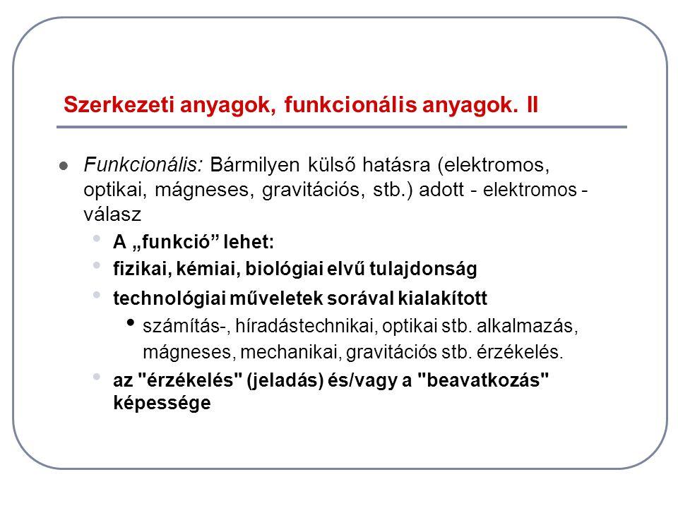 Szerkezeti anyagok, funkcionális anyagok. II
