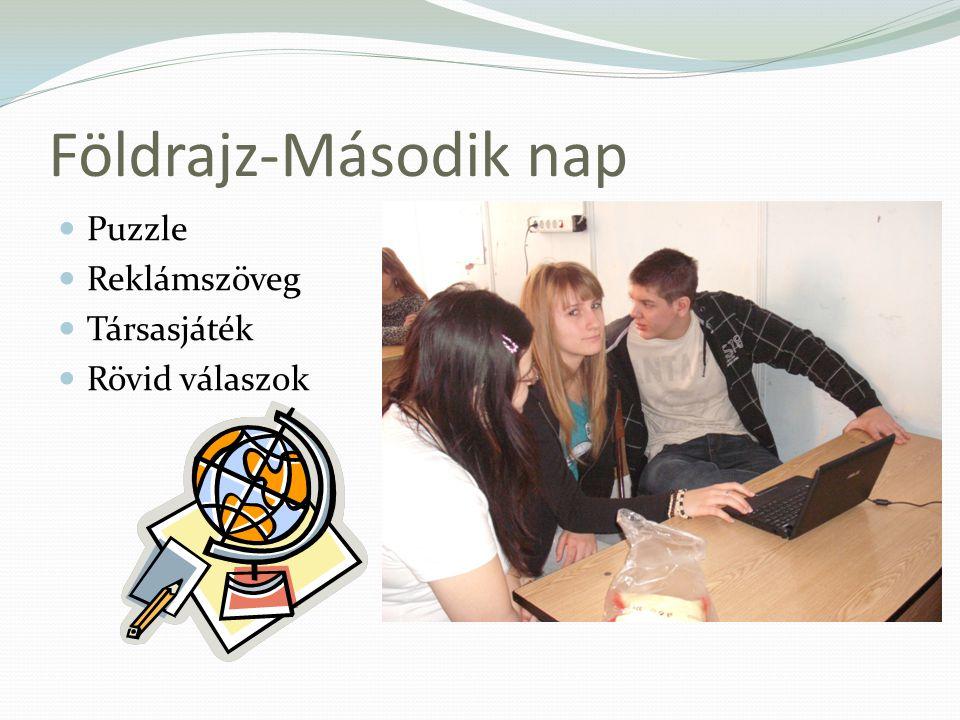 Földrajz-Második nap Puzzle Reklámszöveg Társasjáték Rövid válaszok