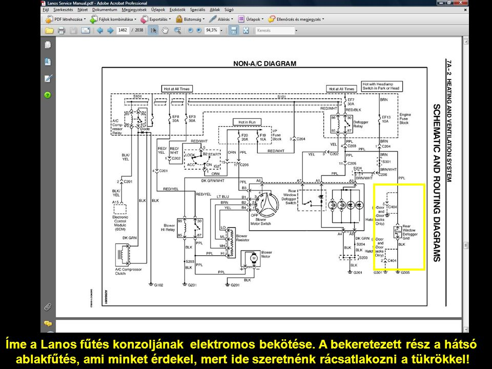 Íme a Lanos fűtés konzoljának elektromos bekötése