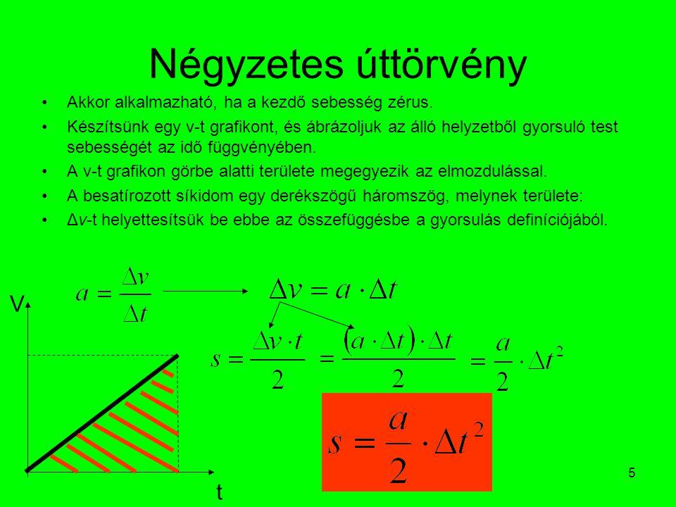 Négyzetes úttörvény V t Akkor alkalmazható, ha a kezdő sebesség zérus.
