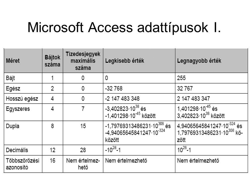 Microsoft Access adattípusok I.