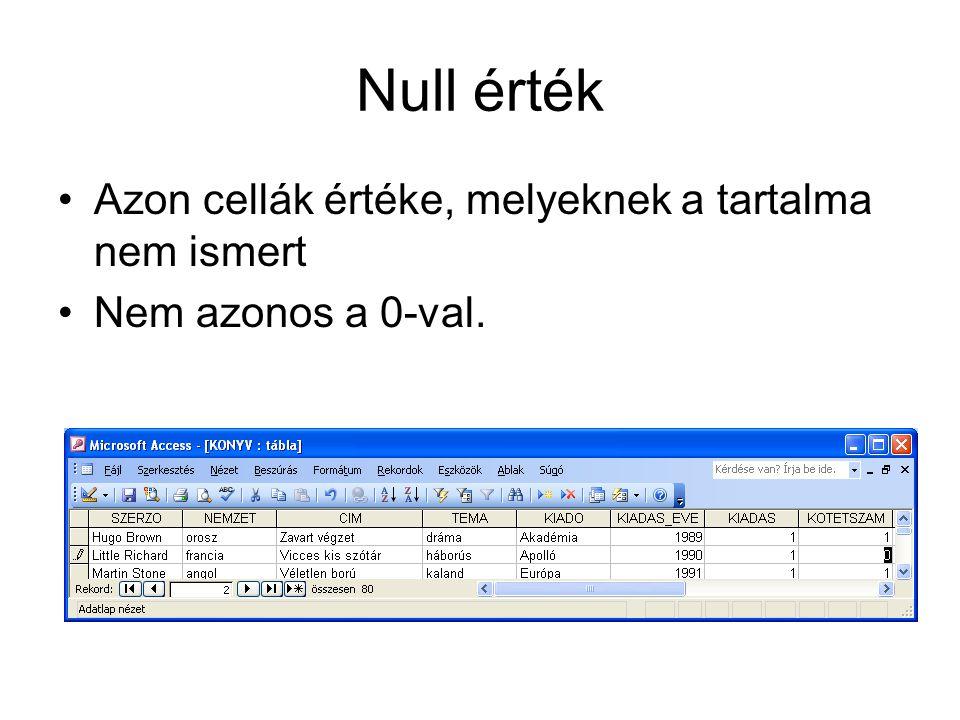 Null érték Azon cellák értéke, melyeknek a tartalma nem ismert