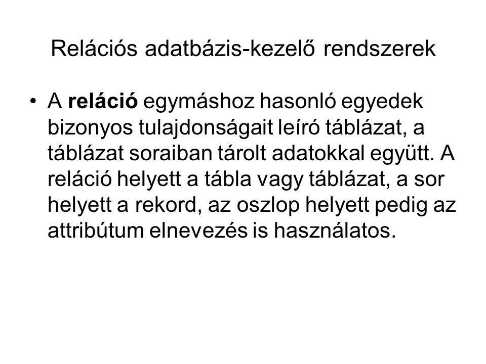 Relációs adatbázis-kezelő rendszerek
