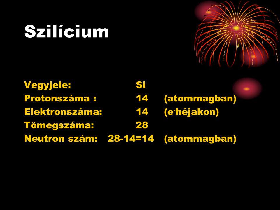 Szilícium Vegyjele: Si Protonszáma : 14 (atommagban)