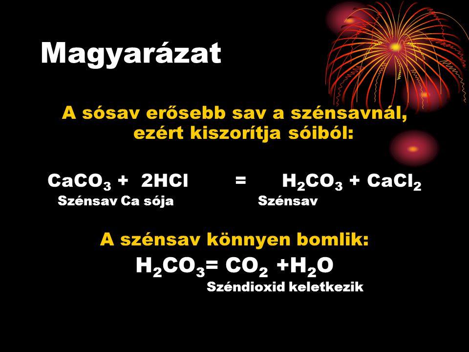 Magyarázat A sósav erősebb sav a szénsavnál, ezért kiszorítja sóiból: CaCO3 + 2HCl = H2CO3 + CaCl2.