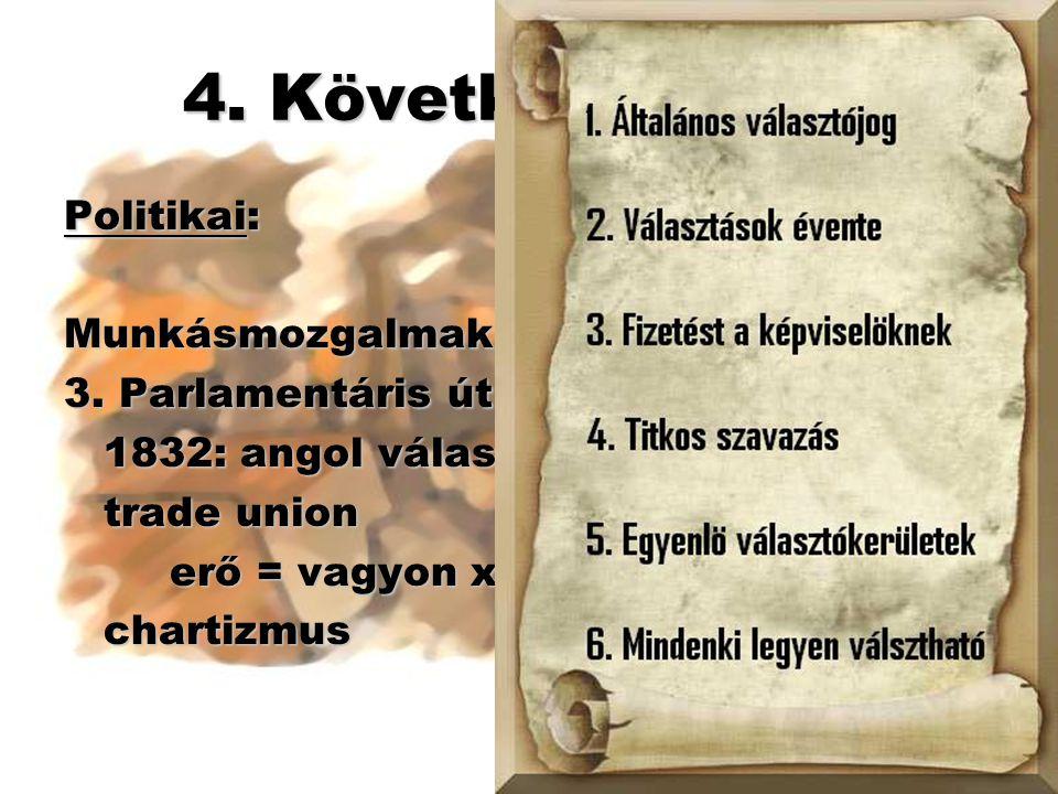 4. Következmények Politikai: Munkásmozgalmak: 3. Parlamentáris út