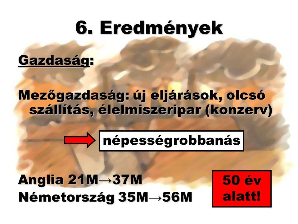 6. Eredmények Gazdaság: Mezőgazdaság: új eljárások, olcsó szállítás, élelmiszeripar (konzerv) Anglia 21M→37M.