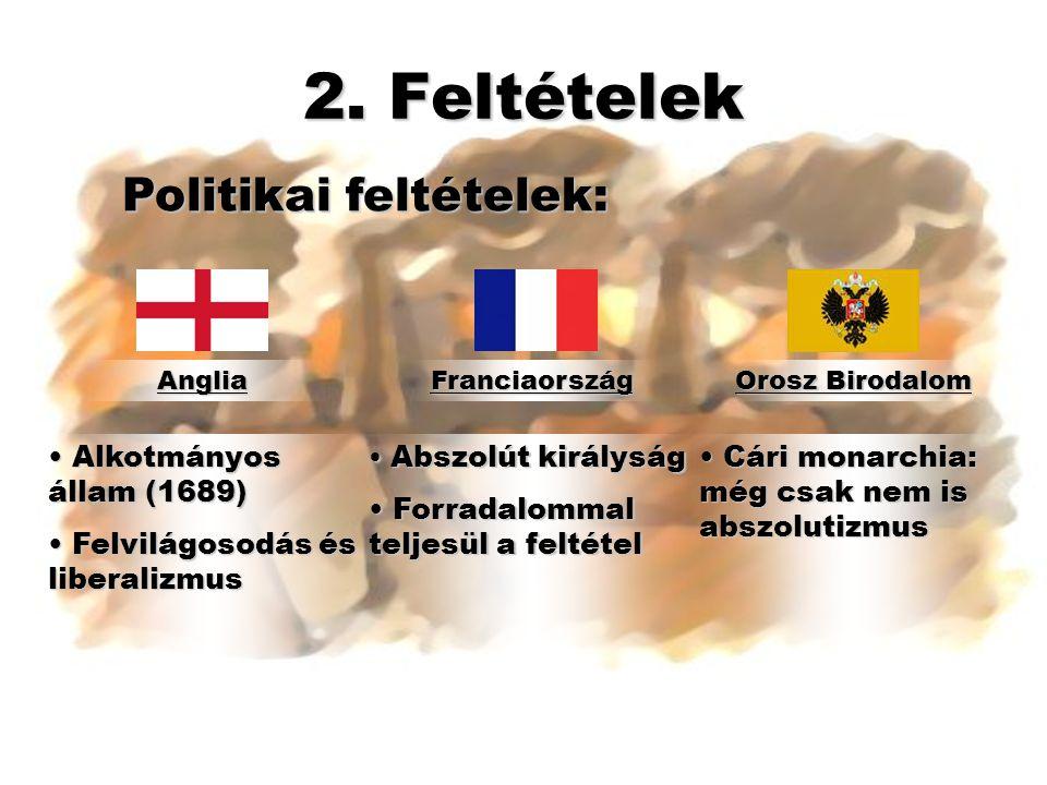 2. Feltételek Politikai feltételek: Alkotmányos állam (1689)