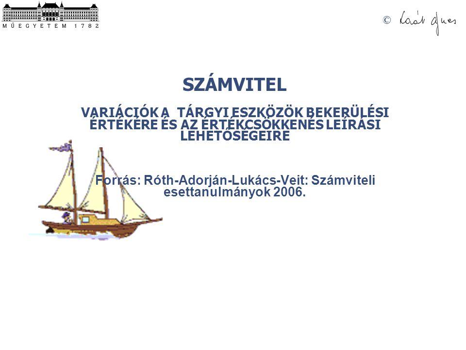 Forrás: Róth-Adorján-Lukács-Veit: Számviteli esettanulmányok 2006.