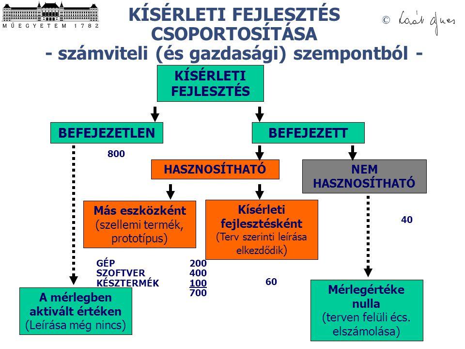 KÍSÉRLETI FEJLESZTÉS CSOPORTOSÍTÁSA - számviteli (és gazdasági) szempontból -