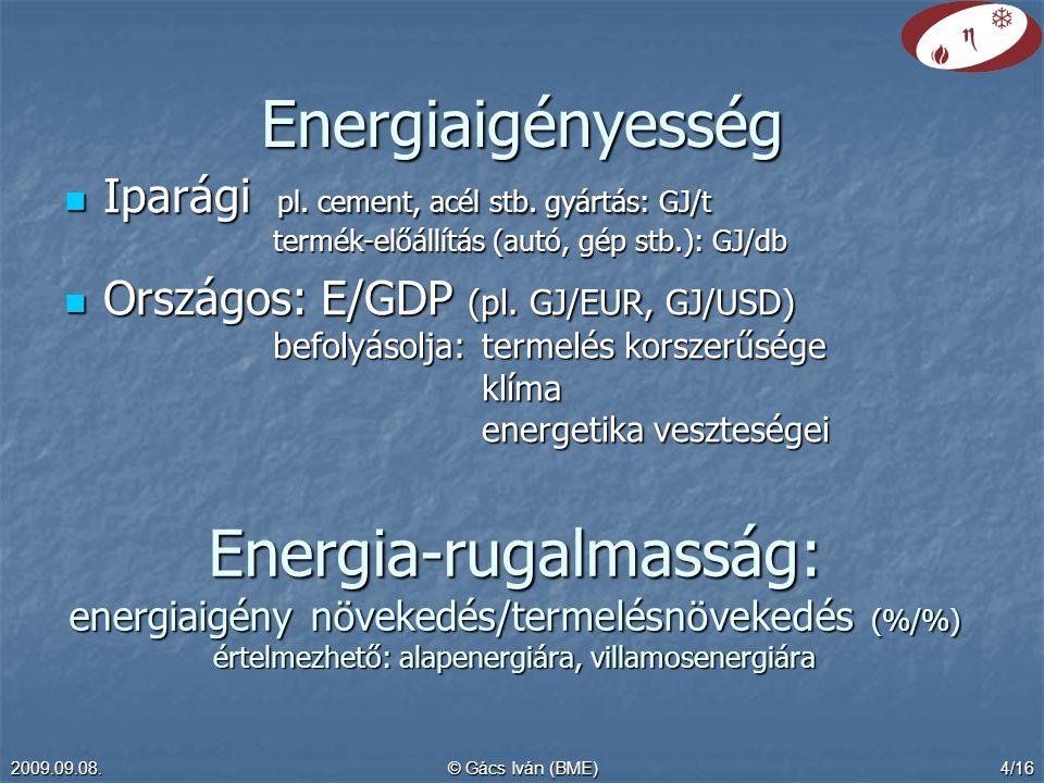 Energiaigényesség Iparági pl. cement, acél stb. gyártás: GJ/t termék-előállítás (autó, gép stb.): GJ/db.