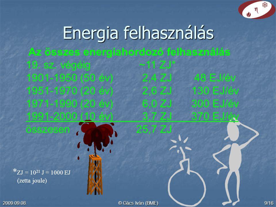 Energia felhasználás Az összes energiahordozó felhasználás