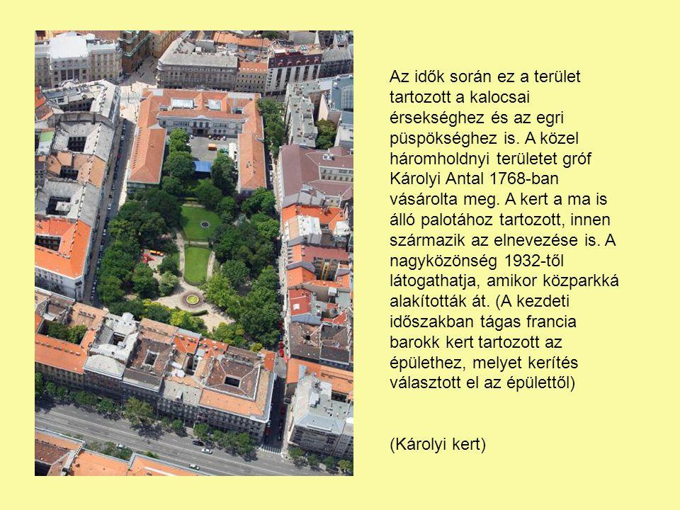 Az idők során ez a terület tartozott a kalocsai érsekséghez és az egri püspökséghez is. A közel háromholdnyi területet gróf Károlyi Antal 1768-ban vásárolta meg. A kert a ma is álló palotához tartozott, innen származik az elnevezése is. A nagyközönség 1932-től látogathatja, amikor közparkká alakították át. (A kezdeti időszakban tágas francia barokk kert tartozott az épülethez, melyet kerítés választott el az épülettől)