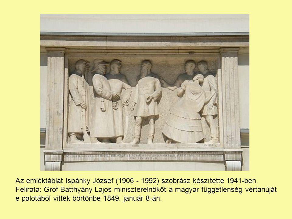 Az emléktáblát Ispánky József (1906 - 1992) szobrász készítette 1941-ben.