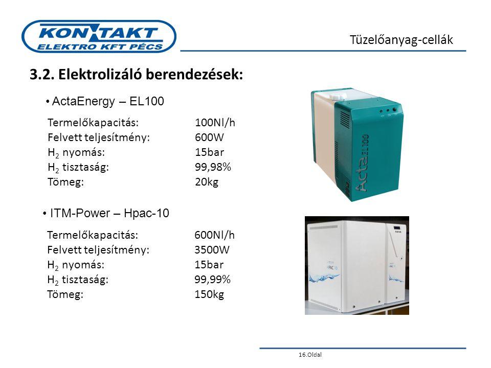 3.2. Elektrolizáló berendezések: