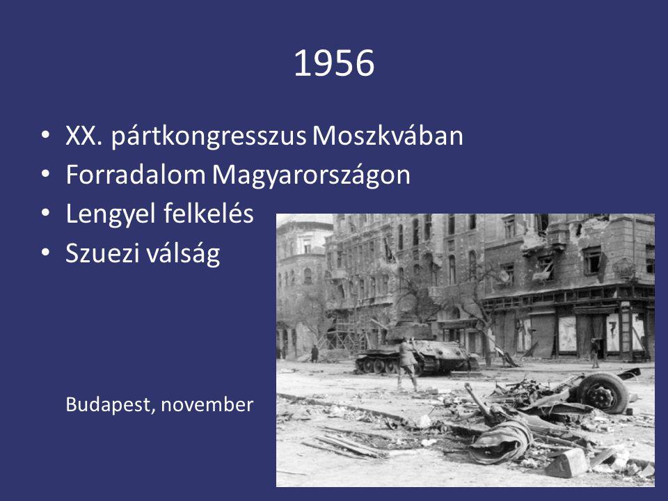 1956 XX. pártkongresszus Moszkvában Forradalom Magyarországon