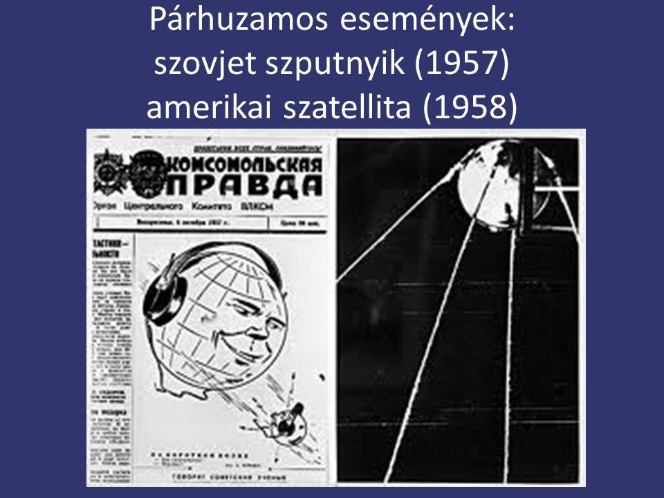 Párhuzamos események: szovjet szputnyik (1957) amerikai szatellita (1958)