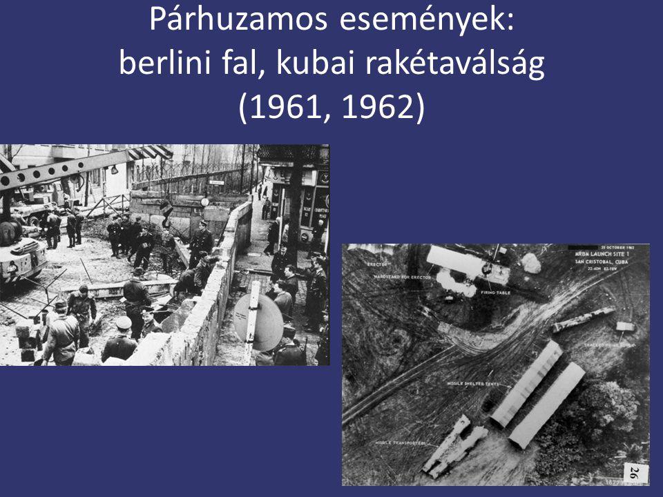 Párhuzamos események: berlini fal, kubai rakétaválság (1961, 1962)