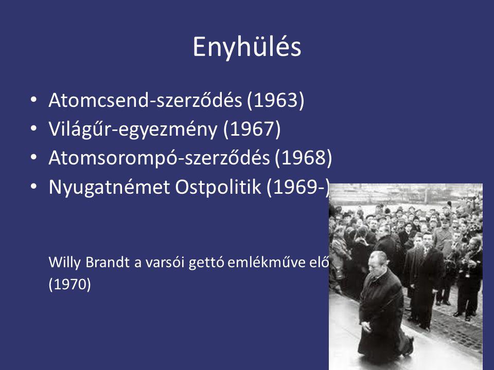 Enyhülés Atomcsend-szerződés (1963) Világűr-egyezmény (1967)