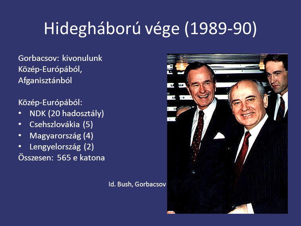 Hidegháború vége (1989-90) Gorbacsov: kivonulunk Közép-Európából,