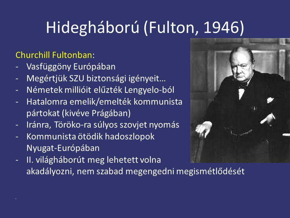 Hidegháború (Fulton, 1946) Churchill Fultonban: - Vasfüggöny Európában