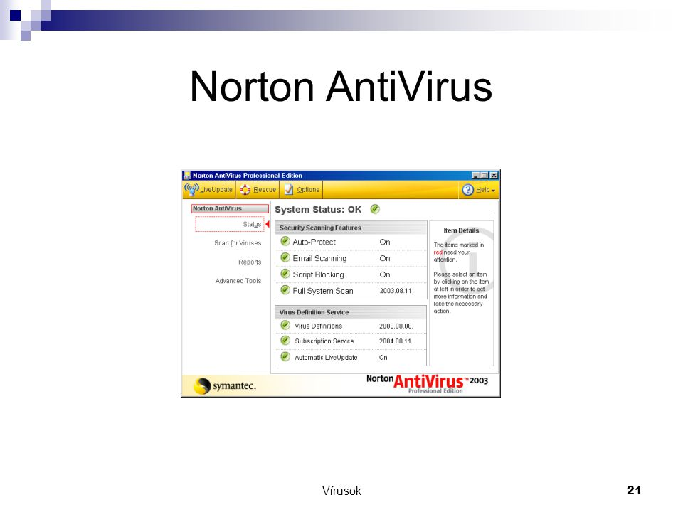 Norton AntiVirus Vírusok