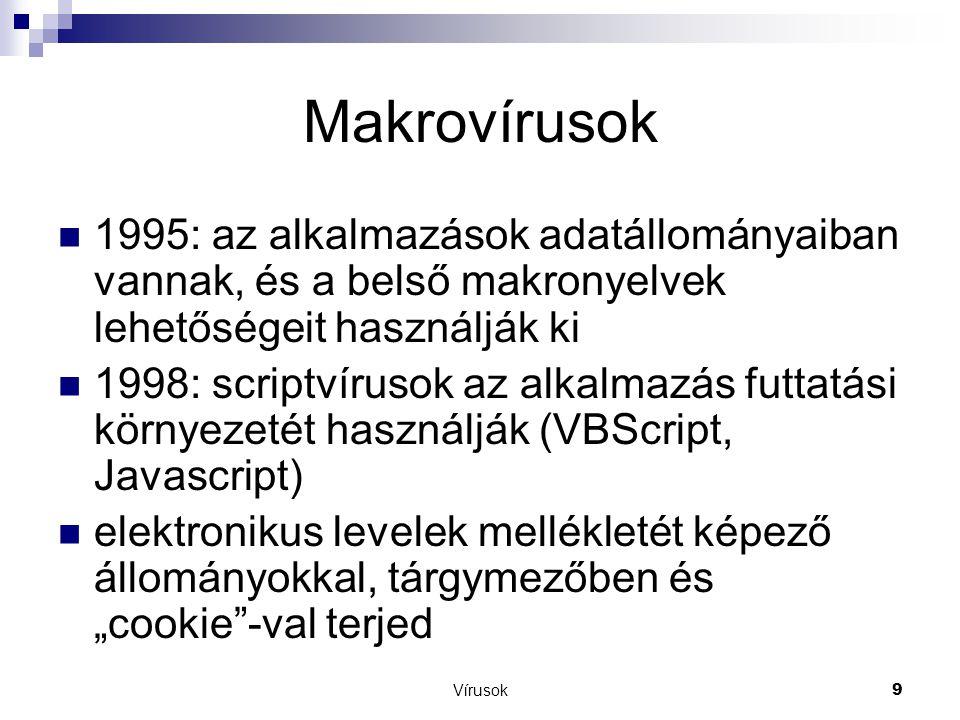 Makrovírusok 1995: az alkalmazások adatállományaiban vannak, és a belső makronyelvek lehetőségeit használják ki.