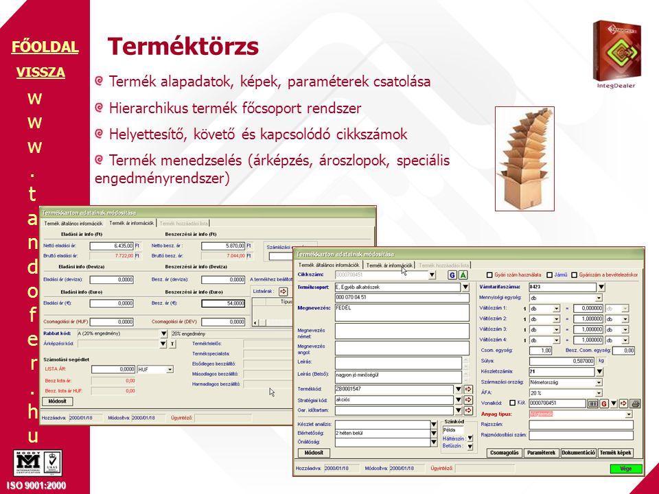 Terméktörzs Termék alapadatok, képek, paraméterek csatolása