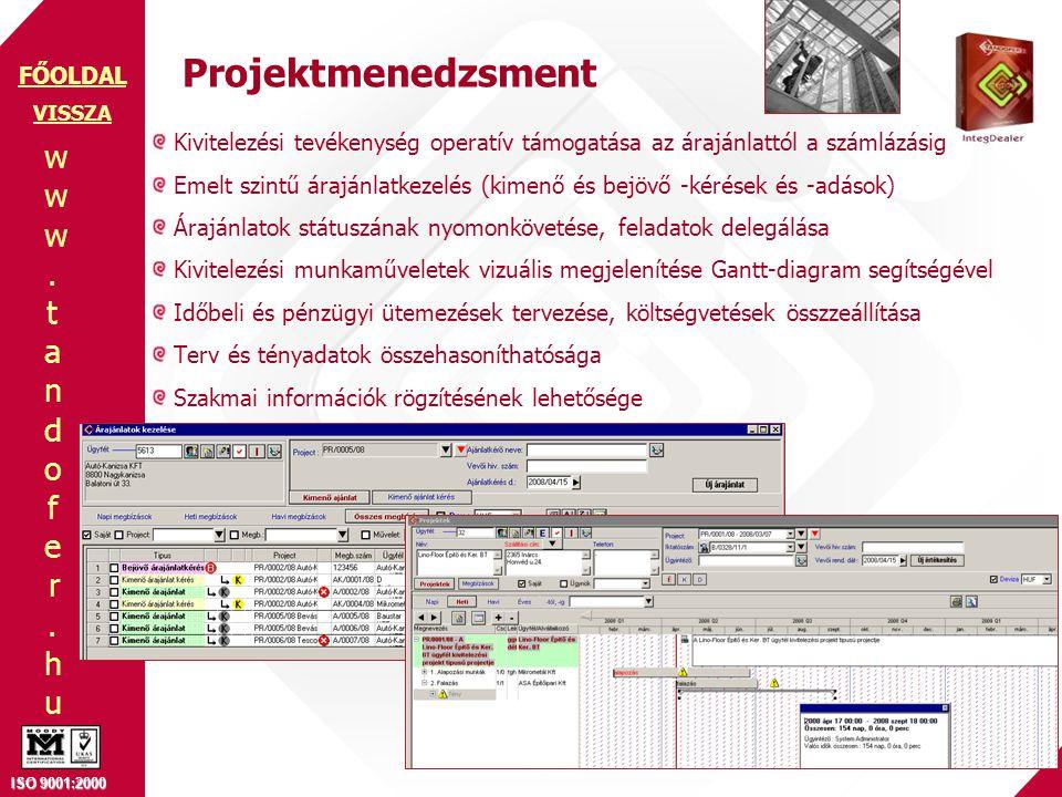 Projektmenedzsment VISSZA. Kivitelezési tevékenység operatív támogatása az árajánlattól a számlázásig.