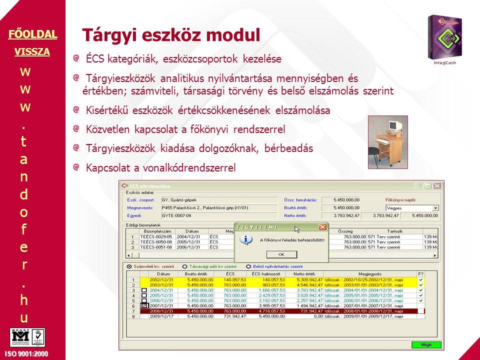 Tárgyi eszköz modul ÉCS kategóriák, eszközcsoportok kezelése