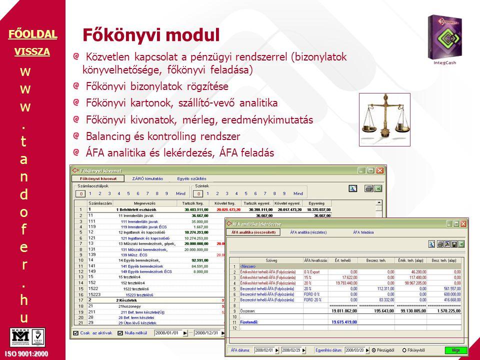 Főkönyvi modul VISSZA. Közvetlen kapcsolat a pénzügyi rendszerrel (bizonylatok könyvelhetősége, főkönyvi feladása)