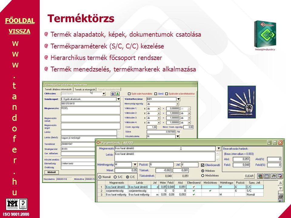 Terméktörzs Termék alapadatok, képek, dokumentumok csatolása