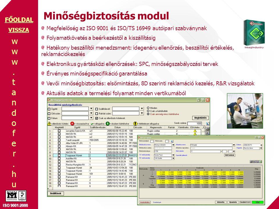 Minőségbiztosítás modul