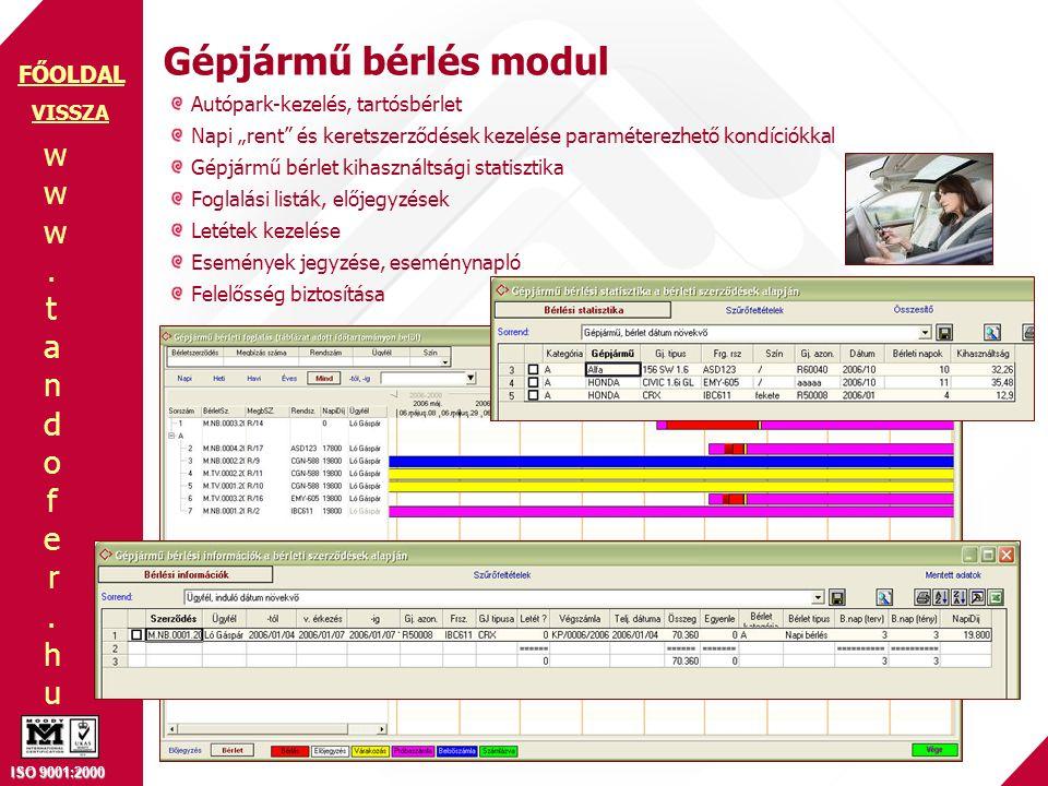 Gépjármű bérlés modul Autópark-kezelés, tartósbérlet VISSZA