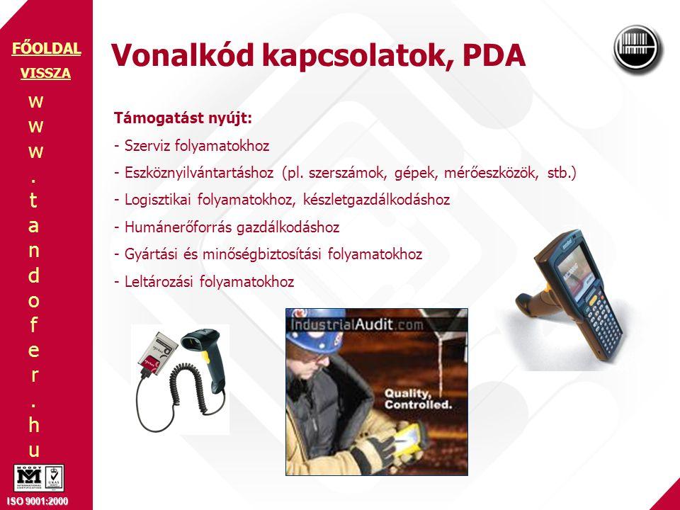 Vonalkód kapcsolatok, PDA