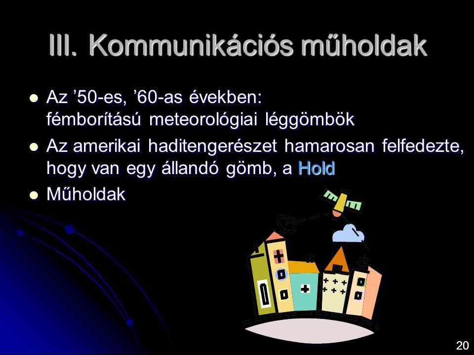 III. Kommunikációs műholdak