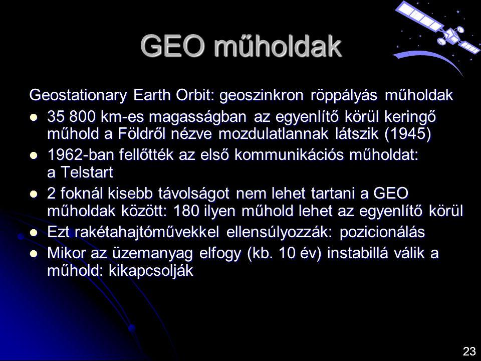 GEO műholdak Geostationary Earth Orbit: geoszinkron röppályás műholdak
