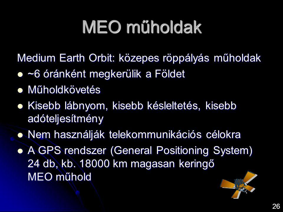 MEO műholdak Medium Earth Orbit: közepes röppályás műholdak