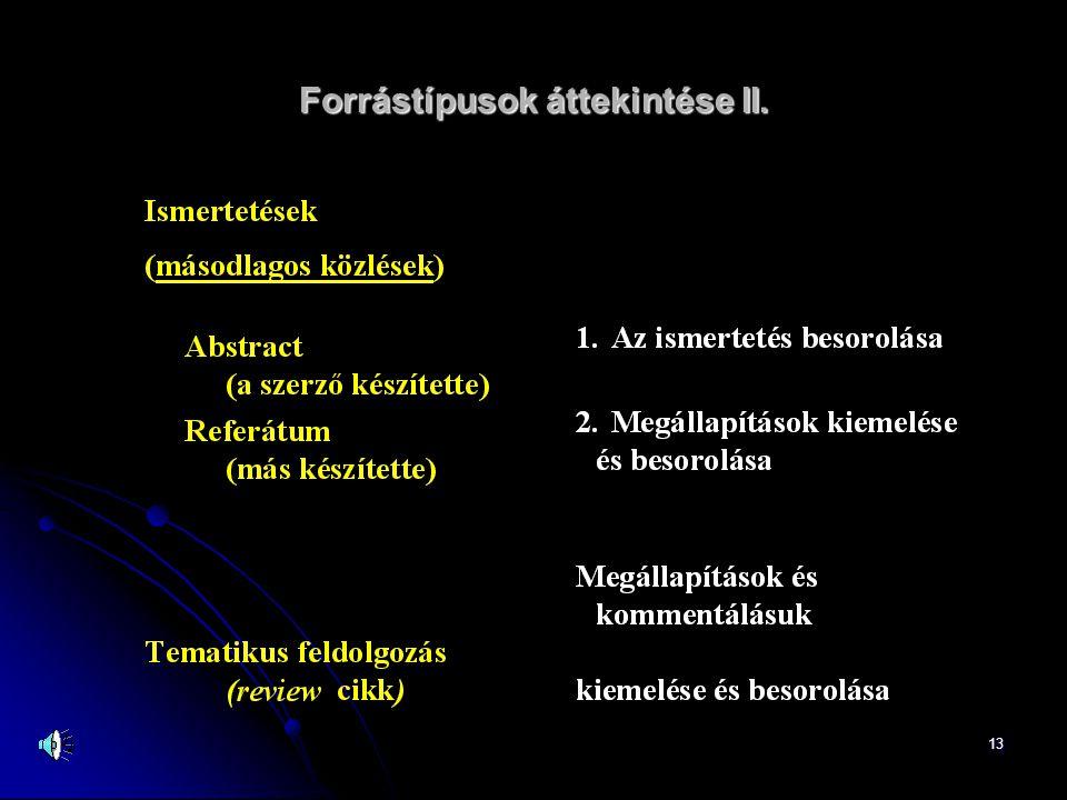Forrástípusok áttekintése II.