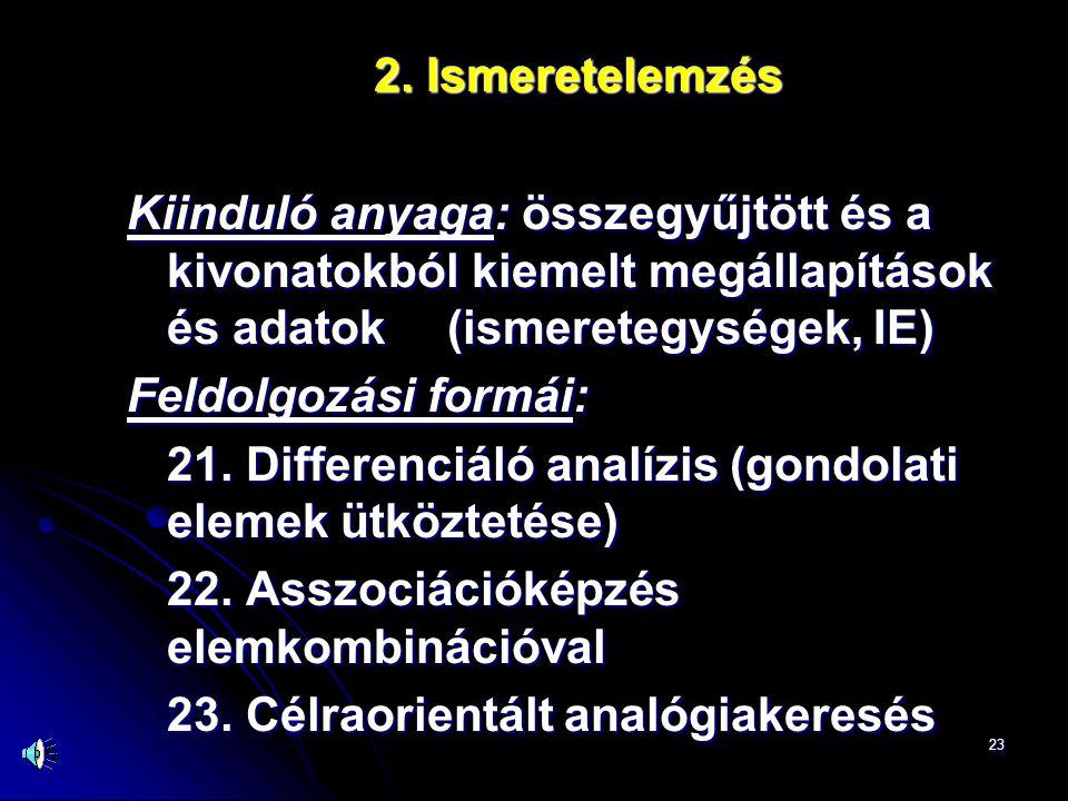 2. Ismeretelemzés Kiinduló anyaga: összegyűjtött és a kivonatokból kiemelt megállapítások és adatok (ismeretegységek, IE)